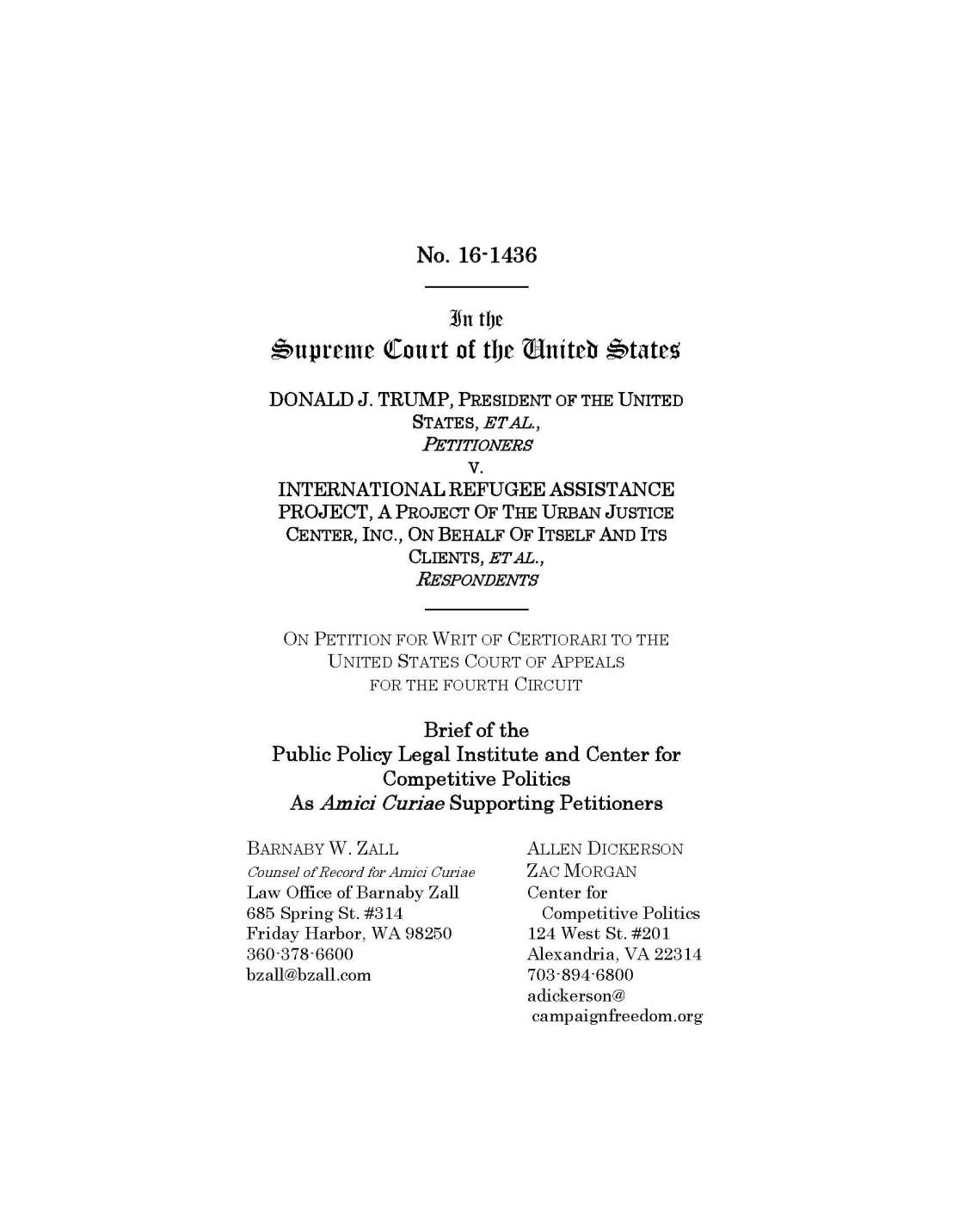 "PPLI and CCP File Brief Asking U.S. Supreme Court to Review Fourth Circuit Decision That Could ""Chill"" Candidates' Campaign Speech"